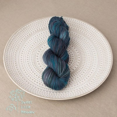 Blue green skein hand dyed merino wool yarn