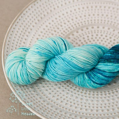 Blue skies on the horizon. Handdyed hank of DK weight superwash merino wool. Indie dyer