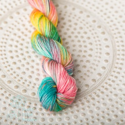 Bright multi colored unicorn handdyed mini skein sock sport superwash merino wool indie dyer
