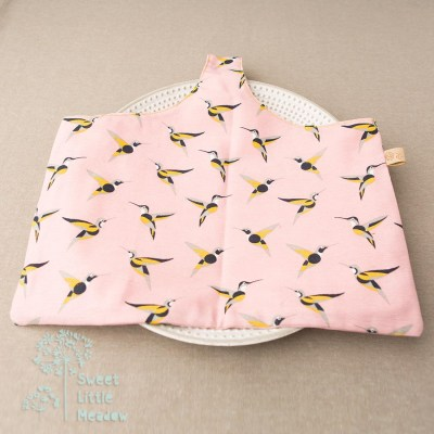 Soft pink yellow and black birds project bag hand made and unique